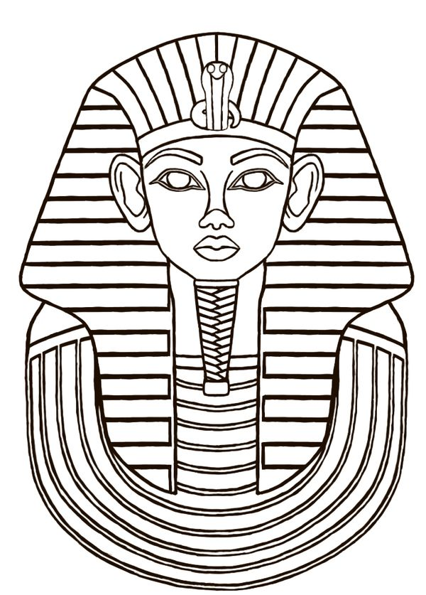 Egyptian sarcophagus designs then i did a line drawing for King tut mask template