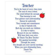 Preschool Christmas Poems for Teachers | CafePress > Wall Art > Posters > Teacher Thank You Wall Art Poster