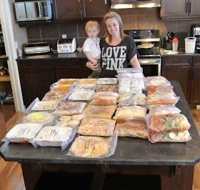 Tons and tons of make ahead freezer meals! She shows how to compile all the ingredients for shopping lists with all the recipes!