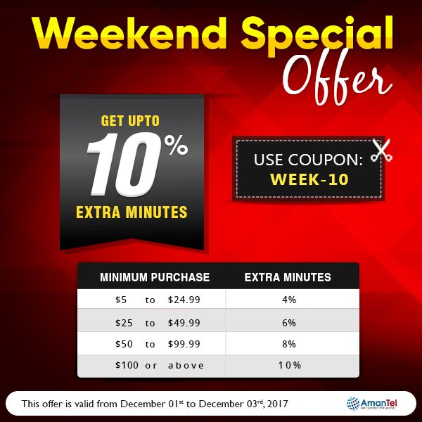 Welcome to Special Weekend offer with Amantel wonderful deals to all international calls. Save Upto 10% extra minutes while calling internationally. keep talking, do not break the weekend fun. No hidden fees and no taxes!!!  Coupon Code: WEEk-10  #InternationalCalling #AmantelCouponCode #SpecialWeekEndOffers