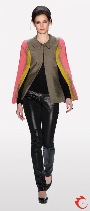 anja gockel grey pink yellow jacket in combination with black fake leather pants