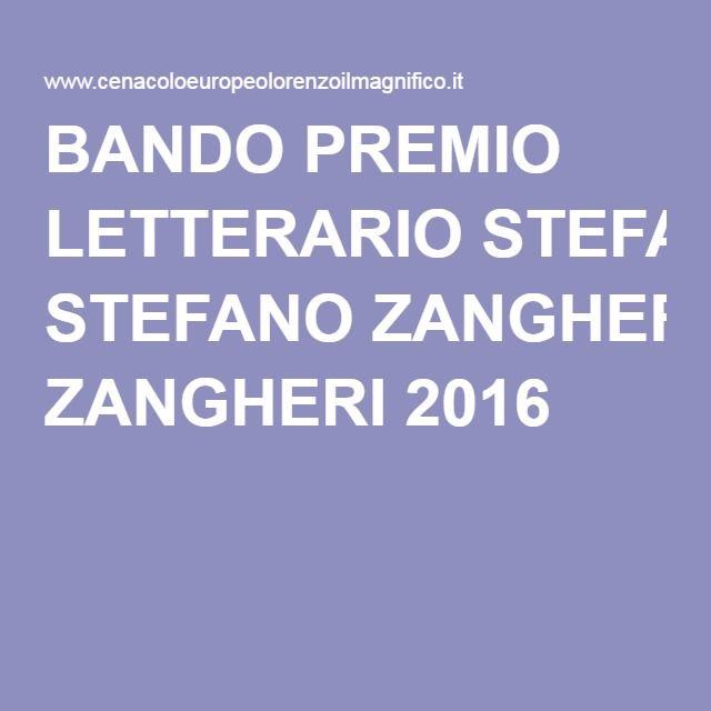 BANDO PREMIO LETTERARIO STEFANO ZANGHERI 2016