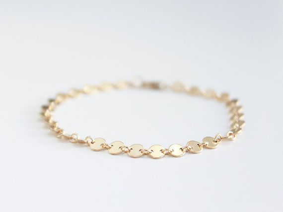 Simple Delicate Gold Bracelet 14k Gold Filled / Choker Chain Bracelet Custom Made / Everyday Bracelet, Thin Gold Chain / Layering Bracelet