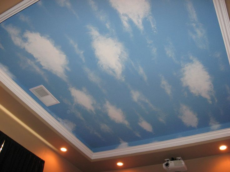 Cloud ceiling mural having husband 39 s aunt paint mural in for Cloud mural ceiling