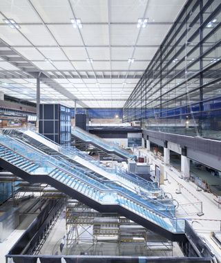 Berlin Brandenburg Airport - A 6 track railway station underneath the airport that's built to whisk passengers between Brandenburg and downtown Berlin in just 20 minutes.
