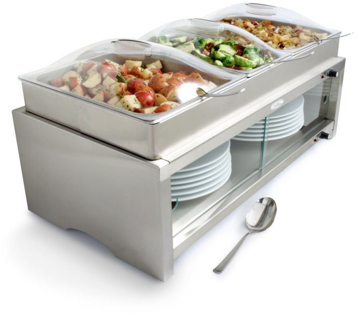 BroilKing Stainless Steel Warming Cabinet and 3 Pans with Lids
