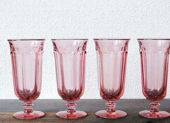 Imperial Glass Pink Drink Glasses, Old Williamsburg Vintage Ohio Glass Stemware Set of Four (4) / via Etsy