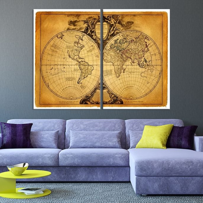 40 best world map canvas images on pinterest extra large wall large wall art world map canvas print vintage style sephia colored hemispere world map gumiabroncs Image collections