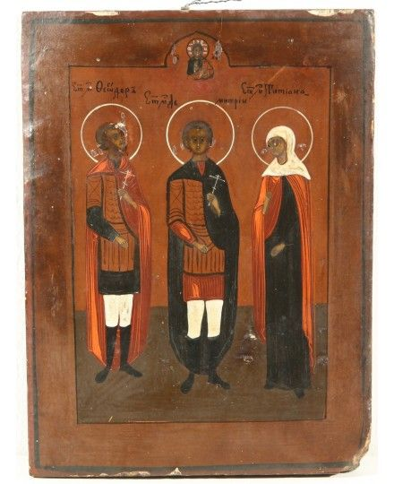 RUSSIAN ICON THREE SAINT MARTYRS Late 19th Century Volga Region