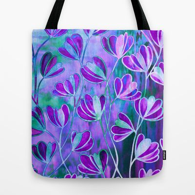 """""""Efflorescence, Lavender Purple Blue"""" by Ebi Emporium on Society 6, Colorful Whimsical Elegant Periwinkle Turquoise Lilac Chic Floral Pattern Watercolor Painting Flowers Design Fine Art Fashion Canvas Tote bag Shoulder Carryall #style #fashion #tote #totebag #floralbag #floraltote #canvastote #art #artbag #fineart #floral #floralpattern #Society6 #EbiEmporium #giftforher #accessories #purple #blue #lovely #garden #spring #summer"""