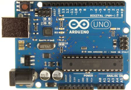 The Arduino Uno (R3) is a microcontroller board based on the ATmega328 (datasheet). It has 14 digital input/output pins (of which 6 can be used as PWM outputs), 6 analog inputs, a 16 MHz crystal oscillator, a USB connection, a power jack, an ICSP header, and a reset button. It contains everything needed to support the microcontroller; simply connect it to a computer with a USB cable or power it with a AC-to-DC adapter or battery to get started.