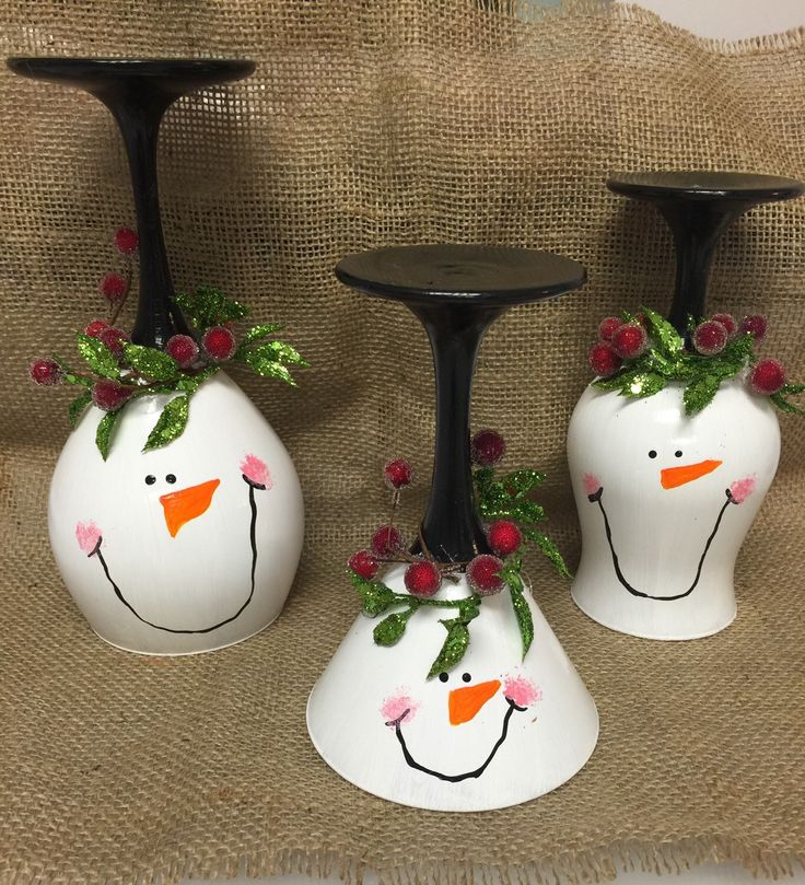 Snowman wine glass candle holder Christmas wine glass candle holders Snowmen…