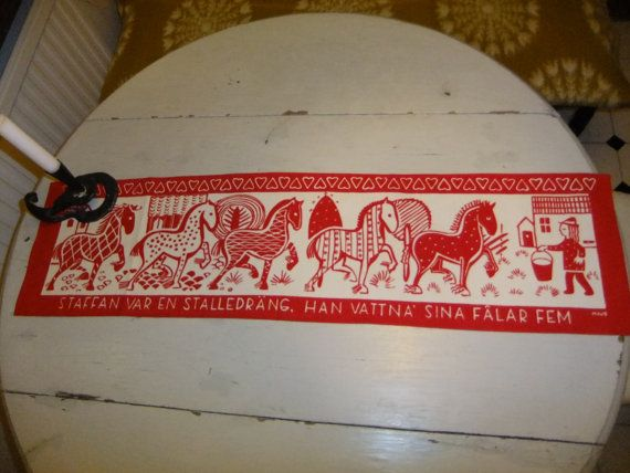 RESERVED FOR JEANETTE / Vintage Swedish Printed wall hanging / Staffan farmhand and his 5 horses/ Maud Fredin design
