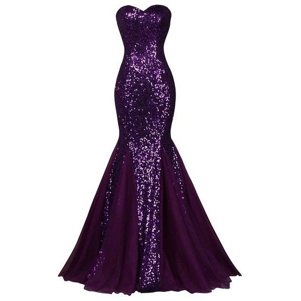 TF Queen Womens Sequins & Tulle Strapless Mermaid Long Cocktail... ($58) ❤ liked on Polyvore featuring dresses, long dresses, purple dress, long tulle dress, long cocktail dresses and strapless sequin dress