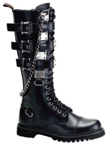 The Gravel-23 knee-high 20 eyelet combat boot by Demonia features a black…