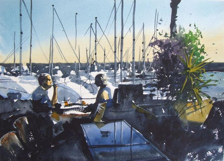Watercolour of the View across the Puerto Calero Marina from the Buddha Bar #lanzarote #watercolor