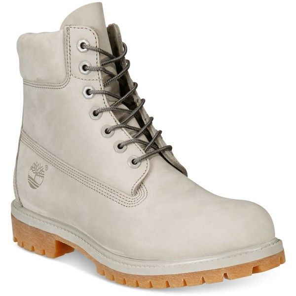 """Timberland Men's Icon 6"""" Premium Boots ($190) ❤ liked on Polyvore featuring men's fashion, men's shoes, men's boots, flint gray, mens long boots, mens shoes, timberland mens shoes, timberland mens boots and mens grey boots"""