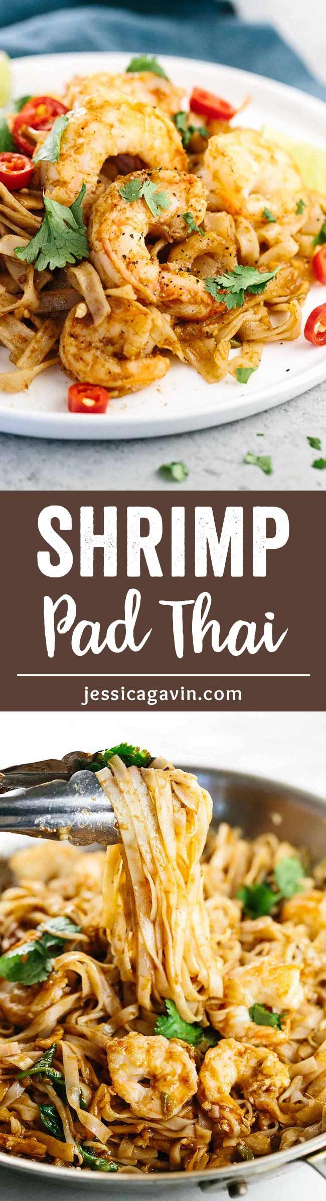 Key West Pink Shrimp Pad Thai Noodles - Chef crafted recipe with authentic Thai flavors, featuring fresh seafood and organic ingredients delivered to your home from Harbour Trading Co.  via @foodiegavin #HarbourTradingCo #ad | jessicagavin.com