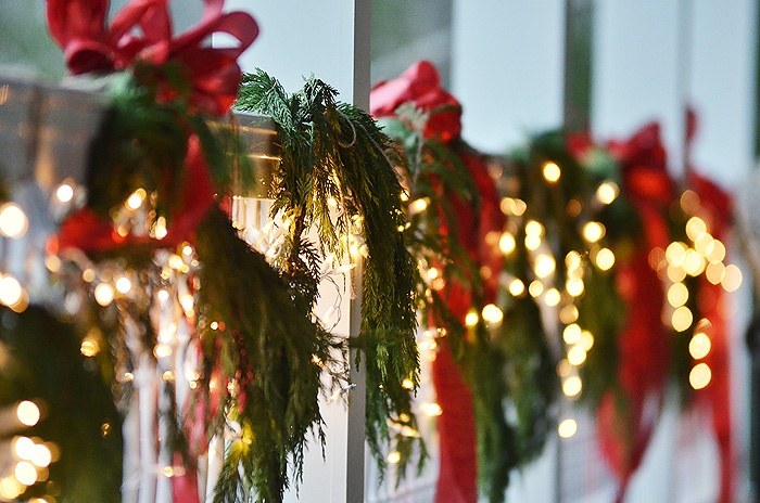 Garland With Lights And Red Ribbon Holiday Pinterest