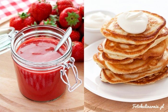 Sour milk polish pancakes with strawberry sauce - Racuchy
