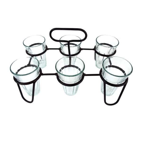 Set of Six Celebration Glasses with Caddy Set of 6 drinking glasses and rack holder caddy. Showcasing rustic appeal you can carry drinks, condiments, silverwar