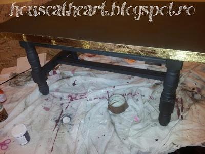 Annie Sloan Chalk Paint coffee table- Graphite and Dark wax+ gold leaf
