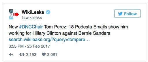 Shortly after The Democratic National Committee selected Tom Perez over Keith Ellison (aka Hakim Muhammad) to chair the DNC, Wikileaks unloaded links to the John Podesta emails that expose Perez's sabotaging of Bernie Sanders during the 2016 primaries.