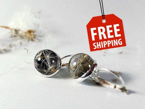 Lever Resin Earring Dandelion globe Studs dandelion by ByEmilyRay