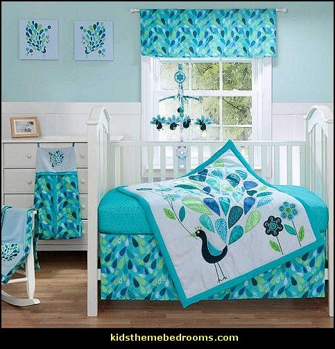 Peacock Blue 4 Piece Baby Crib Bedding Set