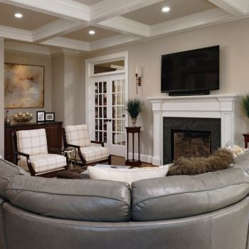 Living Space With Beautiful Coffered Ceiling Large