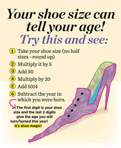 Your shoe size can tell your age?! Try this! #shoes #loveshoes ✿ #fortheloveofshoes https://fortheloveofshoesllc.com/