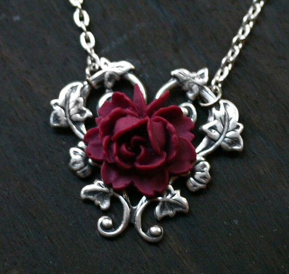 Red Rose Necklace  Alice in Wonderland by robinhoodcouture on Etsy, $24.00