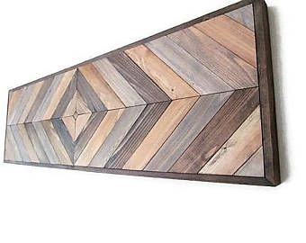 Geometric Wood Art, Chevron Wood Art, Reclaimed Wood, Wood Headboard, Country Decor, Farmhouse, Southwestern, Southwest Decor