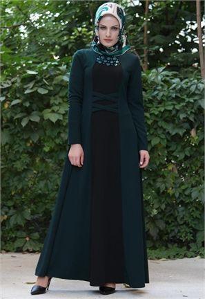 Neşe Pullu Elbise-Zümrüt/Siyah-2222