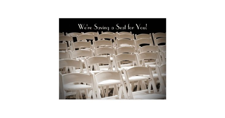 """This unique """"Save the Date"""" postcard announcement is decorated by my original sepia toned photograph of rows of chairs, lined up, before a lakeside wedding. Matching postage stamp is zazzle item 172187389319059257. Default text is for Vow Renewal Ceremony, but can easily be changed. Original photograph by Marcia Socolik. All Rights Reserved © 2014 Alan & Marcia Socolik."""