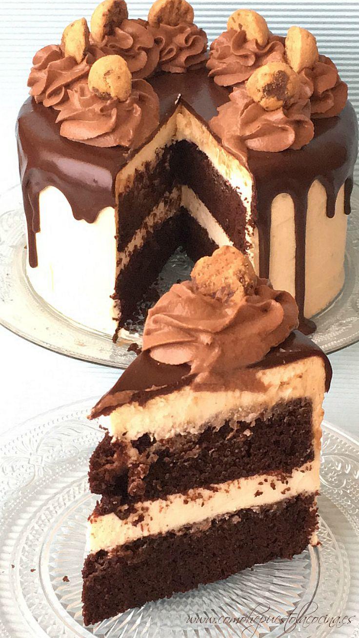 Receta Tarta Kinder Bueno Bizcocho jugoso de chocolate, cremita de queso, crema de avellana italiana y cobertura de chocolate, totalmente irresistible