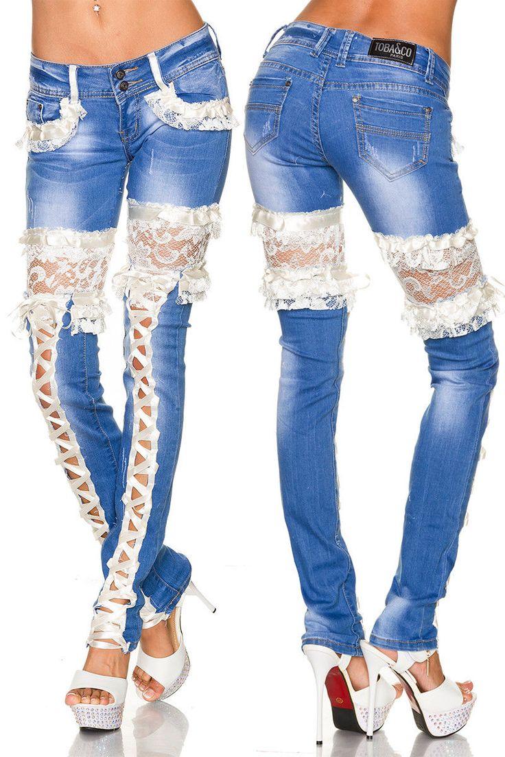 SEXY LUJO Vaqueros encaje pantalones de mezclilla cordón ESCOTE entredós | Ropa, calzado y complementos, Ropa de mujer, Vaqueros | eBay!