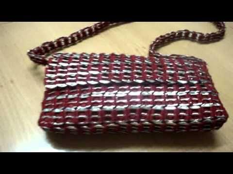 "Bolsa ""Mariconera"" tejida con anillas de lata - YouTube"