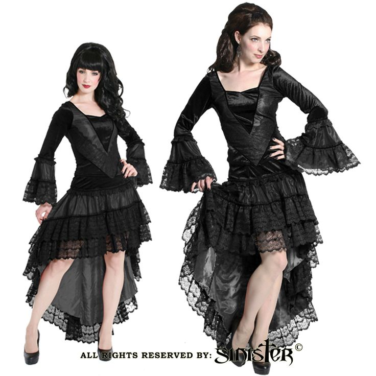 Mesh with lace and Satin fishtail skirt by Sinister (Skirt 801 & Top 802) www.sinister.nl
