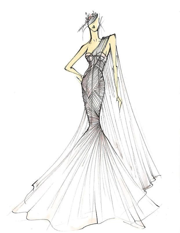 Draped Tulle Over Corset Seam Mermaid Gown