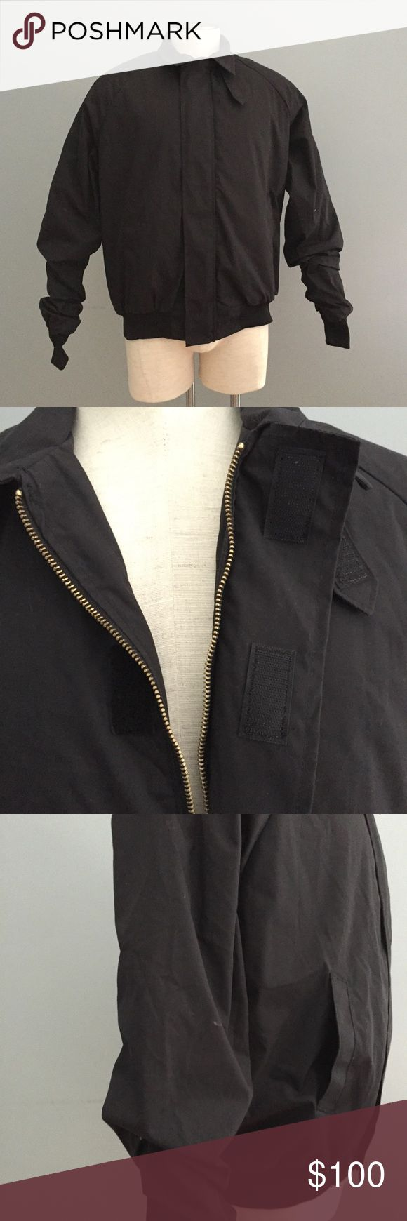 "DSCP quarterdeck black military jacket med long Fully lined zip jacket with hook and loop placket closure overlay. Excellent condition.  Approximate measurements: Length: 25.5"" Chest across pit to pit: 24"" A DSCP Jackets & Coats Military & Field"