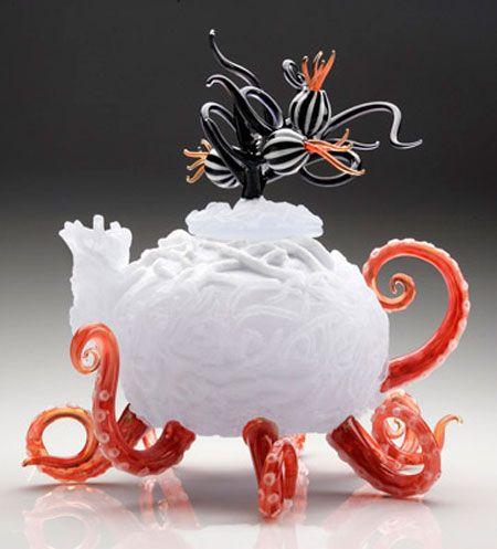 Under the Tea, cast and flameworked glass, by Jennifer Umphress