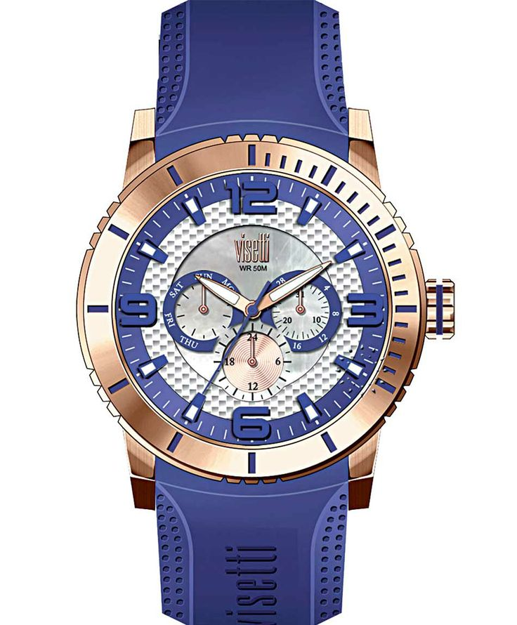 VISETTI New Era Rose Gold Blue Rubber Strap Μοντέλο: PE-750RC Τιμή: 120€ http://www.oroloi.gr/product_info.php?products_id=39489