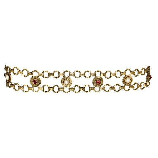 Kenneth Jay Lane Pearl And Ruby Rhinestone Belt (11.377.495 VND) ❤ liked on Polyvore featuring accessories, belts, gold, pearl belt and kenneth jay lane