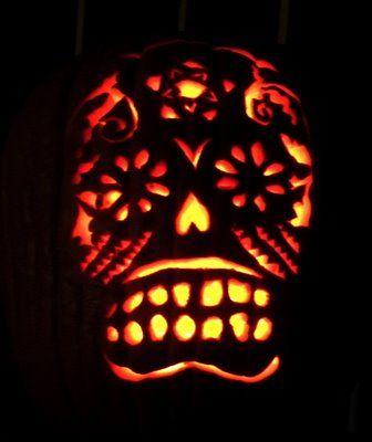 dia de los muertos carved pumpkin - Halloween Dia