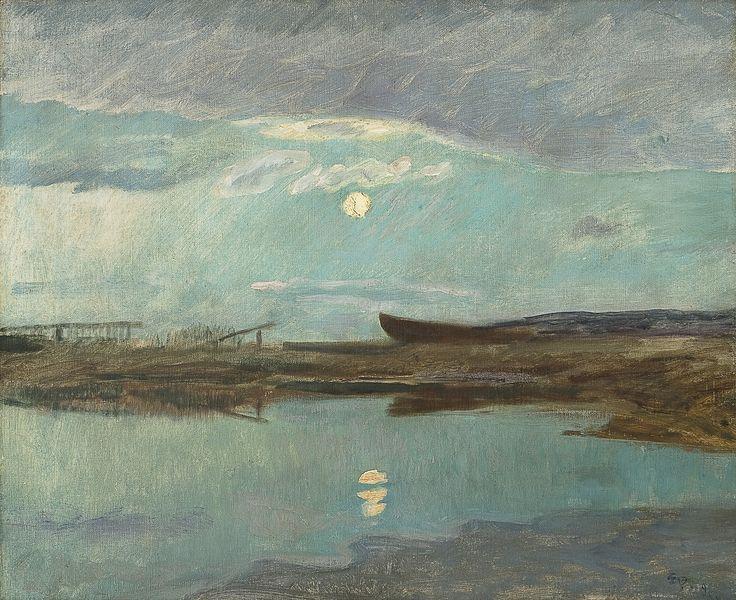 Eilif Peterssen (1852-1928): Kystlandskap i måneskinn, 1898