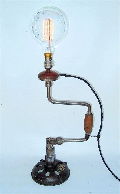 Hand drill table lamp industrie stil lampen lampen und for Lampen industrie
