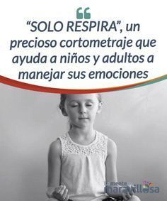 """SOLO RESPIRA"", un precioso cortometraje que ayuda a niños y adultos a manejar sus emociones Este #cortometraje promueve la conciencia #emocional como un vehículo primario para #cambiar nuestro modo de vivenciar nuestras emociones. #Películas"