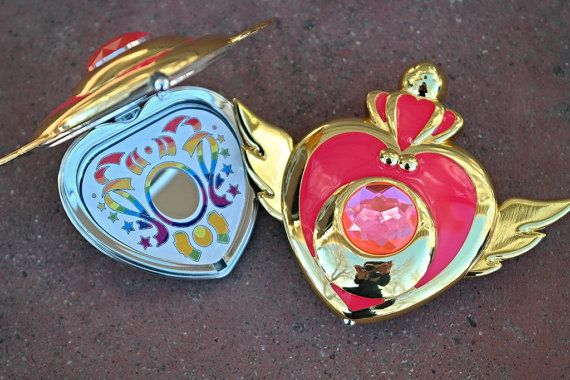 Sailor Moon Super S Crises Heart Compact Mirror Brooch Locket Cosplay Doll Prop on Etsy, $25.00