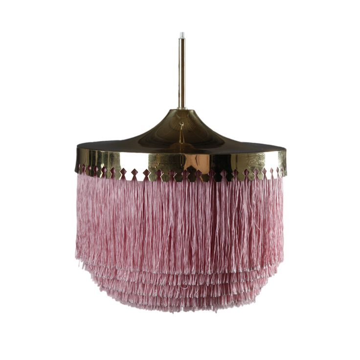 Ceiling lamp in brass and silk fringes by Hans-Agne Jakobsson